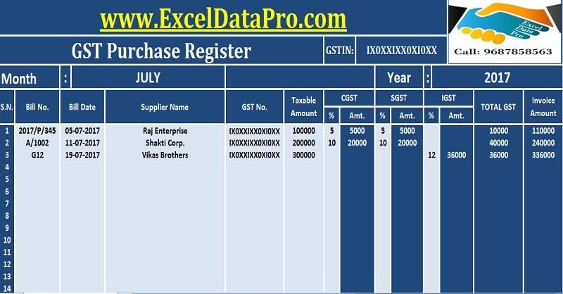 Download GST Purchase Register Excel Template - ExcelDataPro