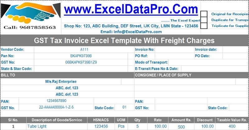 Download Gst Tax Invoice Excel Template With Freight Charges