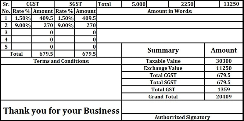 Download Gst Invoice Format For Jewelers In Excel