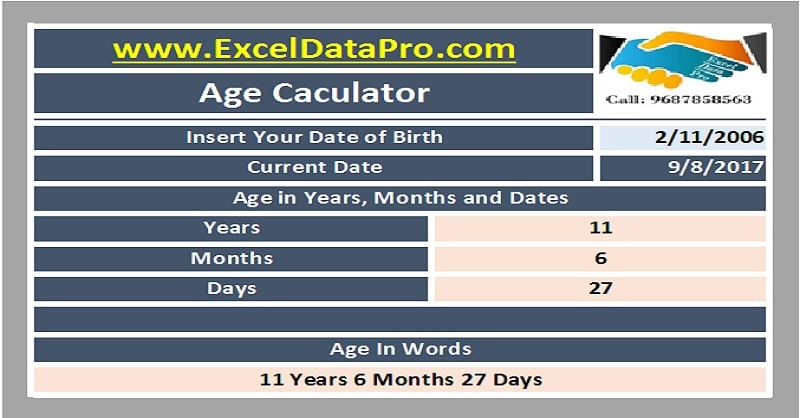 Download Simple Age Calculator Excel Template