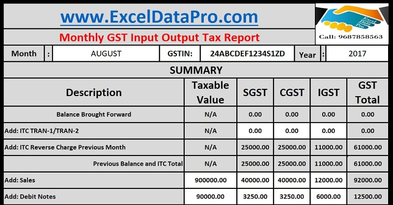 download monthly gst input output tax report excel