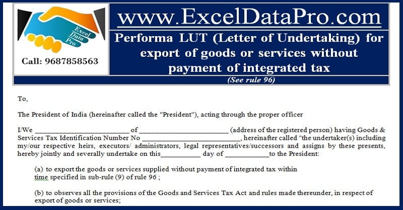 Download Performa LUT (Letter of Undertaking) in MS Word