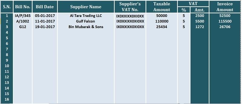 UAE VAT Purchase Register