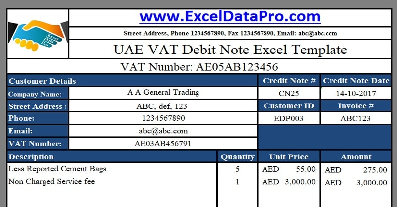 Download Uae Vat Debit Note Excel Template  Exceldatapro