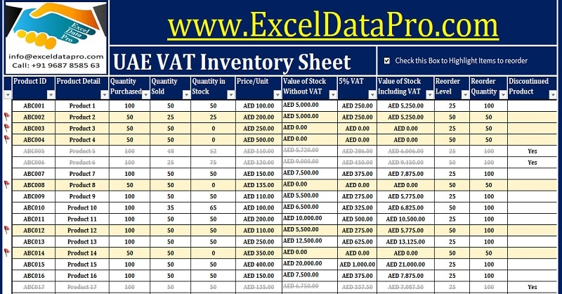 Download UAE VAT Inventory Management Excel Template - ExcelDataPro