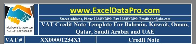 Download VAT Credit Note Template for Bahrain, Kuwait, Oman, Qatar