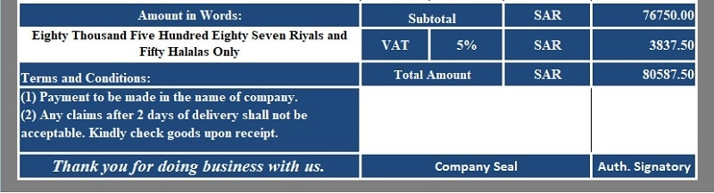 Download VAT Invoice Template for Bahrain, Kuwait, Oman