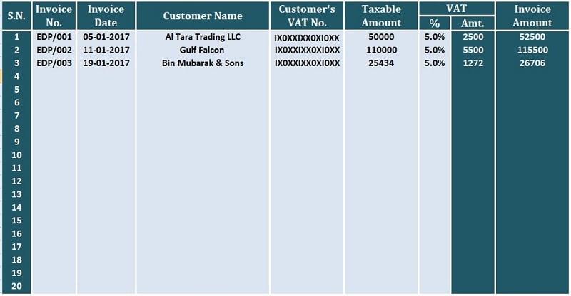 UAE VAT Sales Register