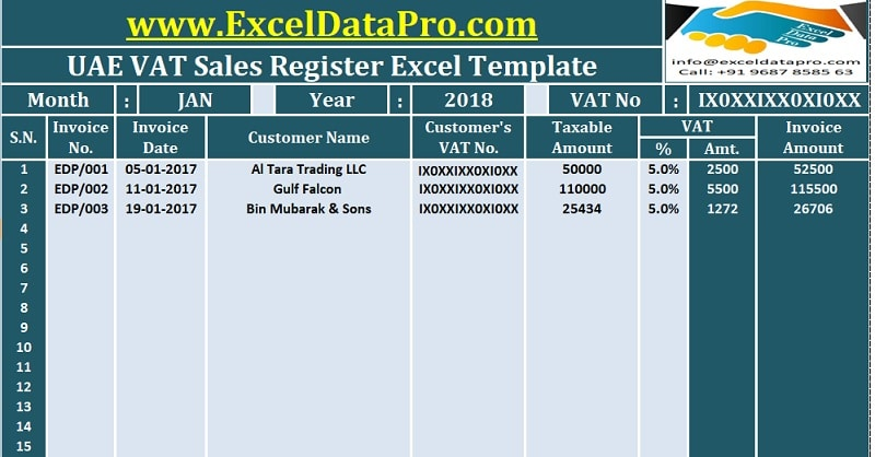 download uae vat sales register excel template exceldatapro