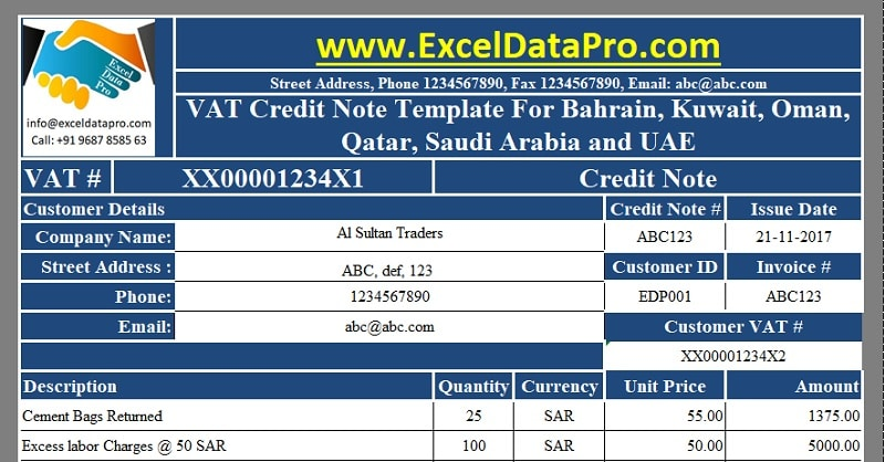 download vat credit note template for bahrain  kuwait