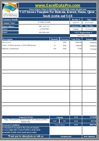 Download Uae Invoice Template With Vat In Excel Arabic 2468516