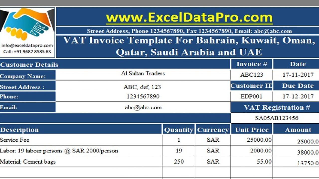 Download VAT Invoice Template for Bahrain, Kuwait, Oman