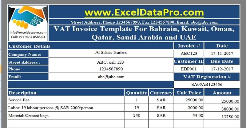 Download VAT Invoice Template for Bahrain, Kuwait, Oman, Qatar, Saudi Arabia and UAE