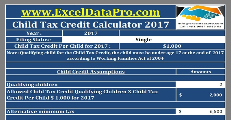 Download Child Tax Credit Calculator Excel Template ...