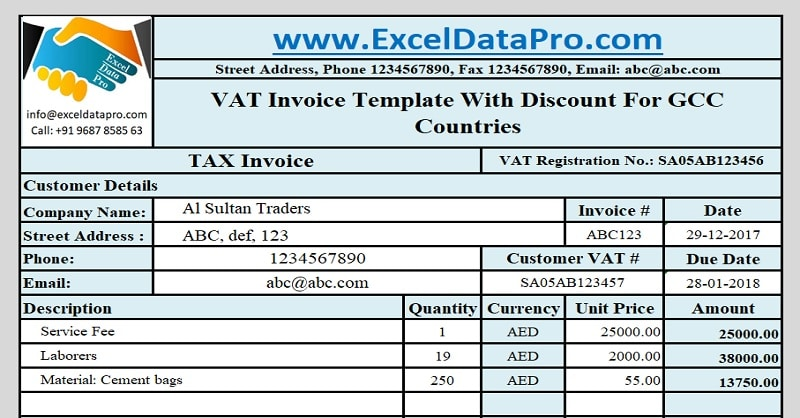 Download Gcc Vat Invoice Template With Discount  Exceldatapro