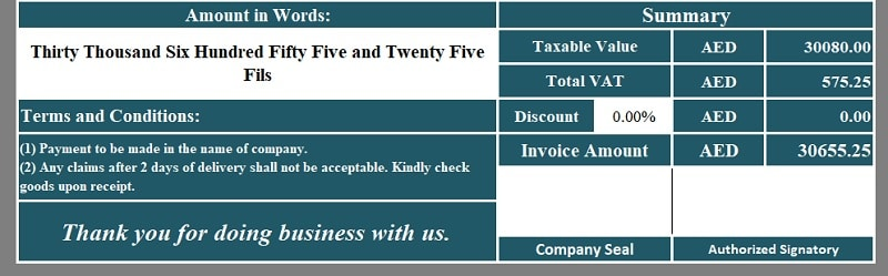 UAE VAT Composite Supply Invoice