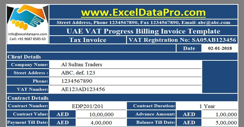 Download Uae Vat Progress Billing Invoice Excel Template