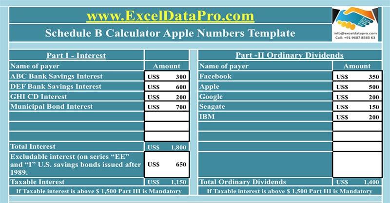 Download Schedule B Calculator Apple Numbers Template