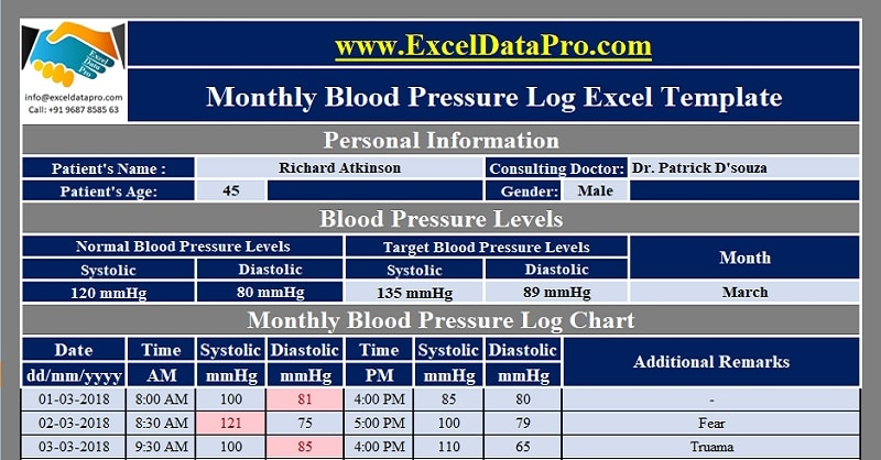Download Monthly Blood Pressure Log With Charts Excel Template