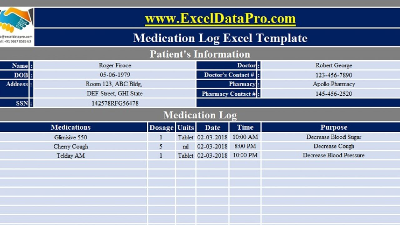 Pill Schedule Template from exceldatapro.com