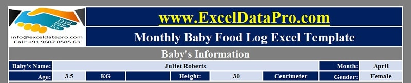 Baby Food Log