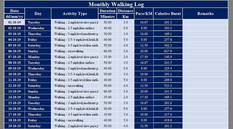Walking Log