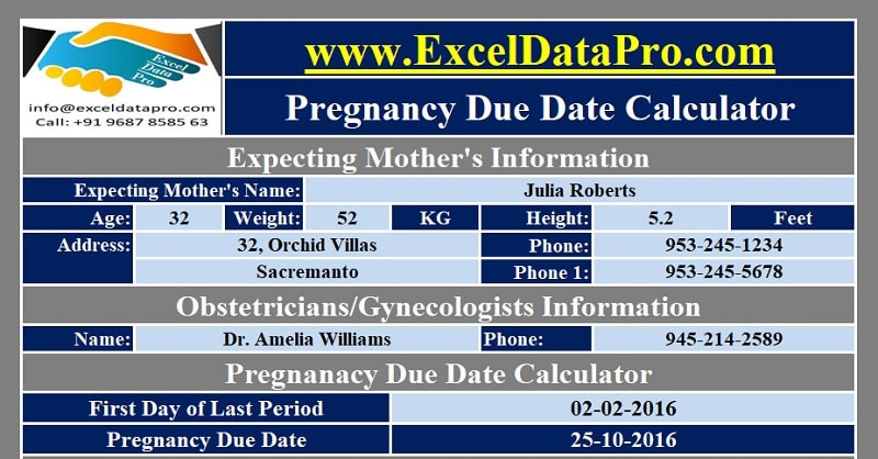 picture about Pregnancy Wheel Printable named Down load Being pregnant Owing Day Calculator Excel Template