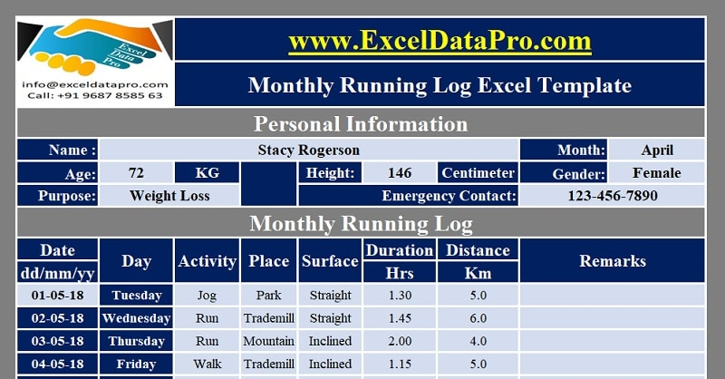 Download Monthly Running Log Excel Template  Exceldatapro