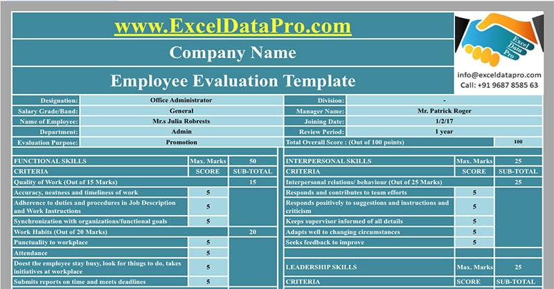 download employee evaluation apple numbers template