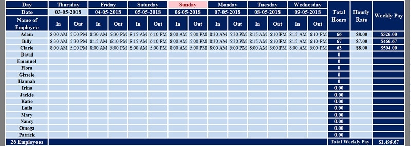 Download Multiple Employees Weekly Timesheet Excel Template