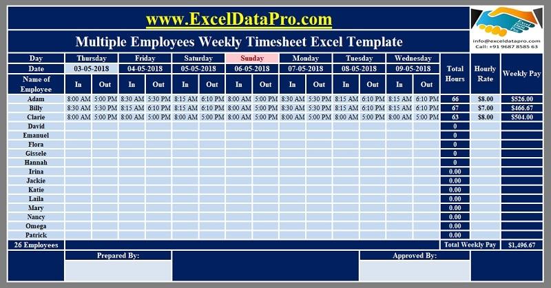 timesheet excel template weekly