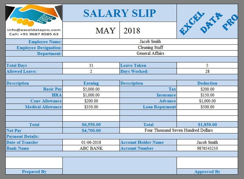 9 Ready-To-Use Salary Slip Excel Templates - ExcelDataPro