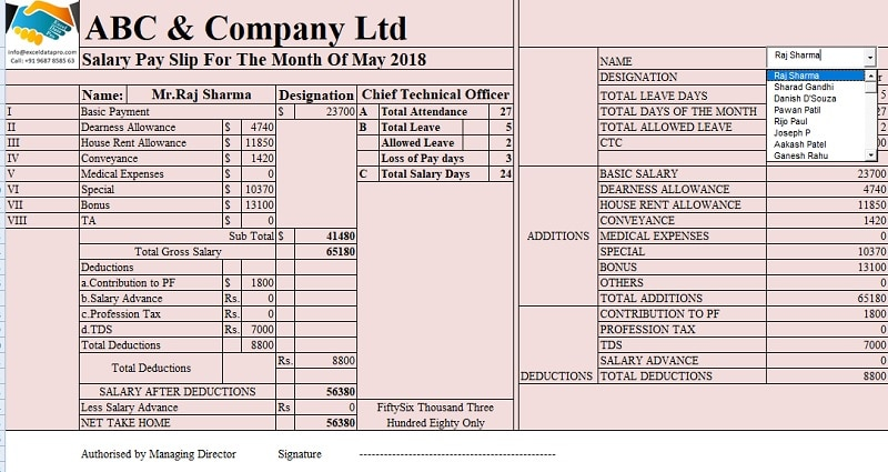 Salary Sheet With Attendance Register