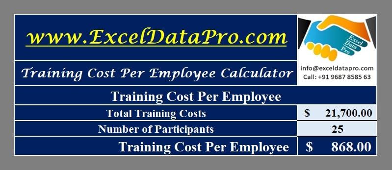 Download Training Cost Per Employee Calculator Excel