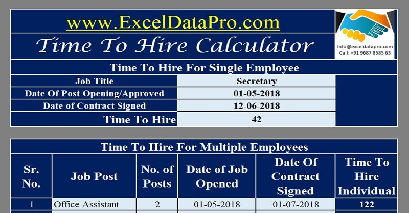 Download Time To Hire Calculator Excel Template - ExcelDataPro