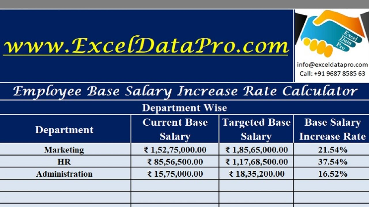 Download Employee Base Salary Increase Rate Calculator Excel