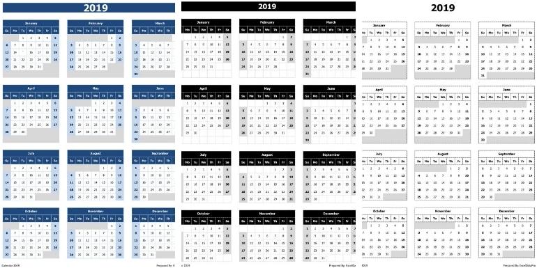Calendar Excel.2019 Calendar Excel Templates Printable Pdfs Images Exceldatapro