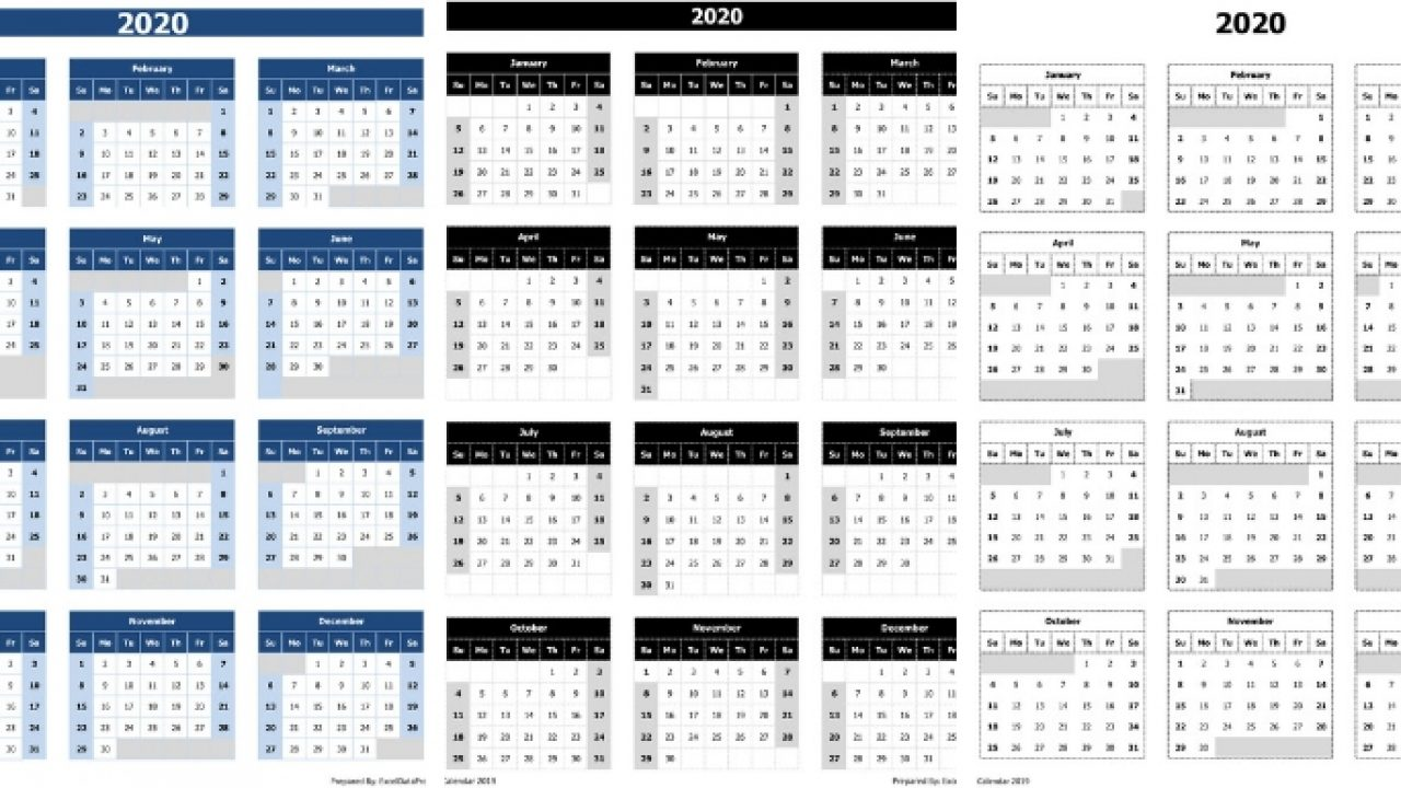 Download 2020 Yearly Calendar Sun Start Excel Template Exceldatapro