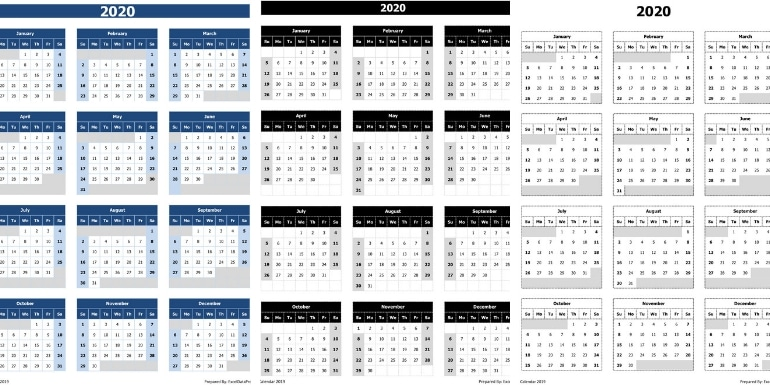 2020 Calendar Excel Template Download 2020 Yearly Calendar (Sun Start) Excel Template