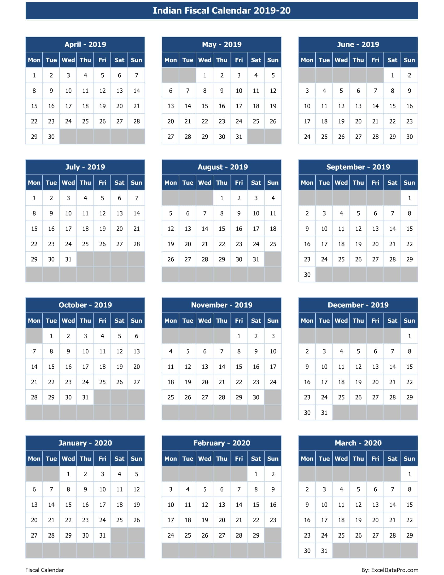 download indian fiscal calendar 2019 20 excel template