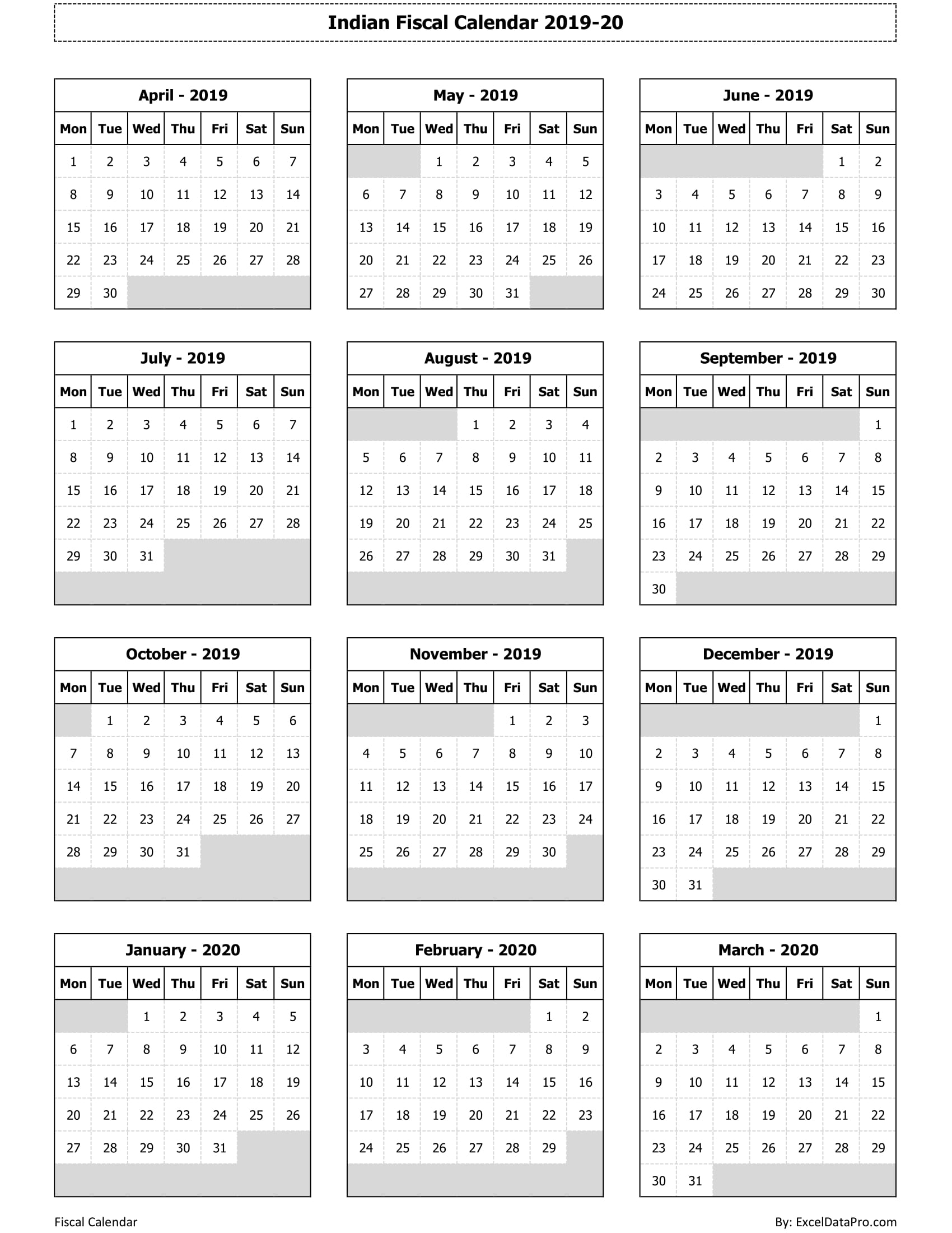 2019 Fiscal Calendar Download Indian Fiscal Calendar 2019 20 Excel Template   ExcelDataPro