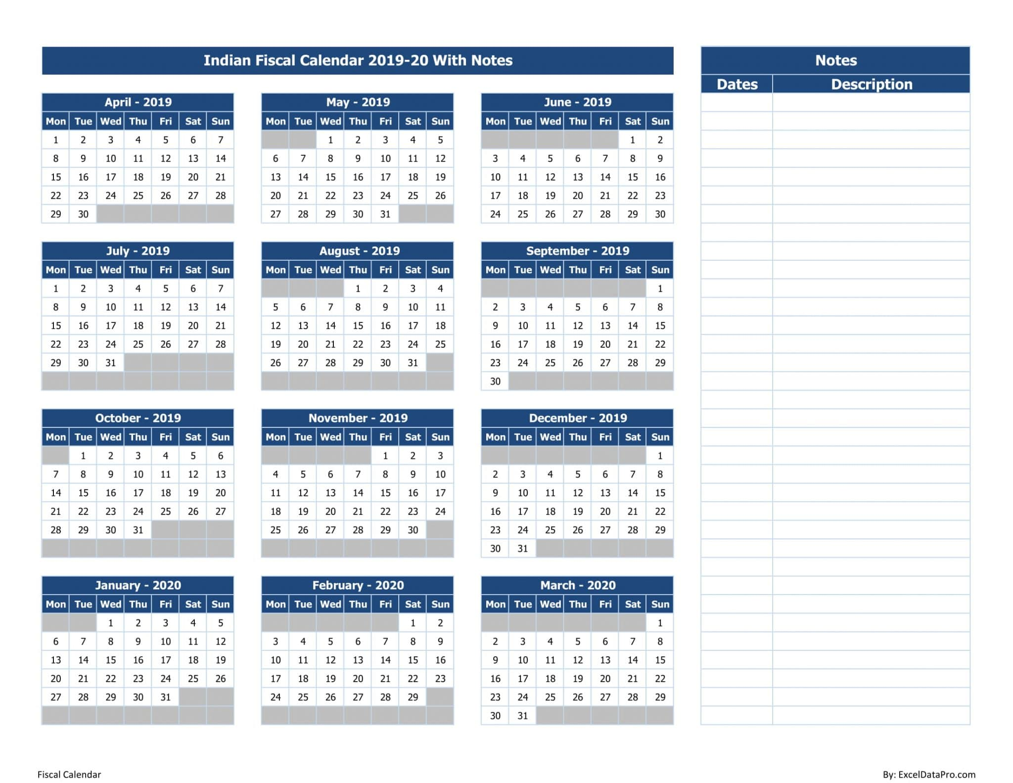 graphic about Calendar Notes identify Obtain Indian Economic Calendar 2019-20 With Notes Excel