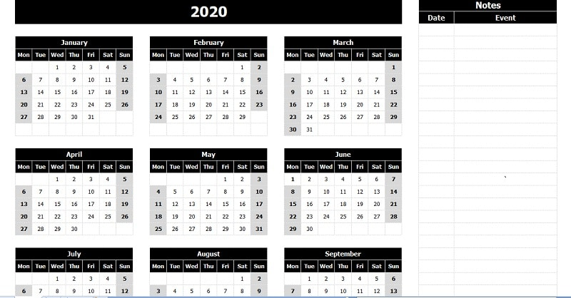 download 2020 yearly calendar  mon start  with notes excel