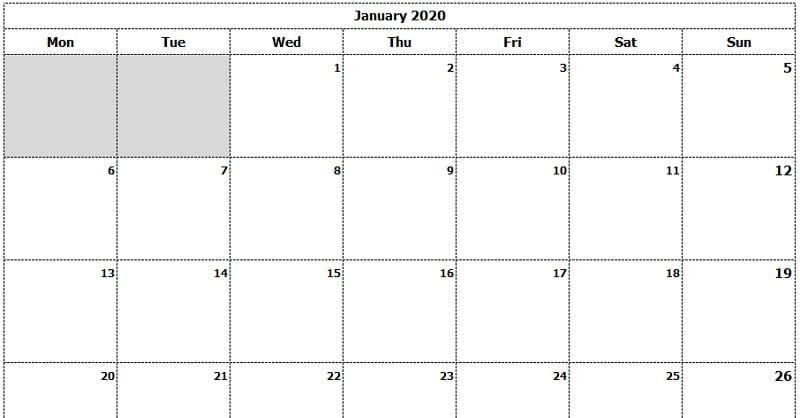 2020 Monthly Calendar Template Download 2020 Monthly Calendar (Mon Start) Ink Saver Excel