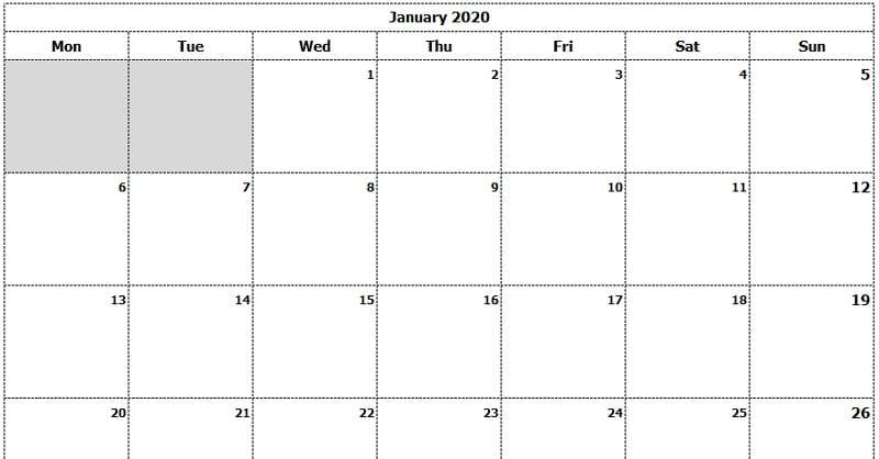 January 2020 Calendar Template.Download 2020 Monthly Calendar Mon Start Ink Saver Excel Template