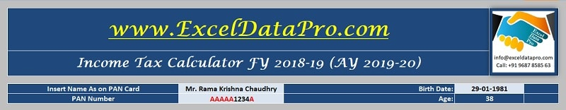 Download Income Tax Calculator FY 2018-19 Excel Template - ExcelDataPro
