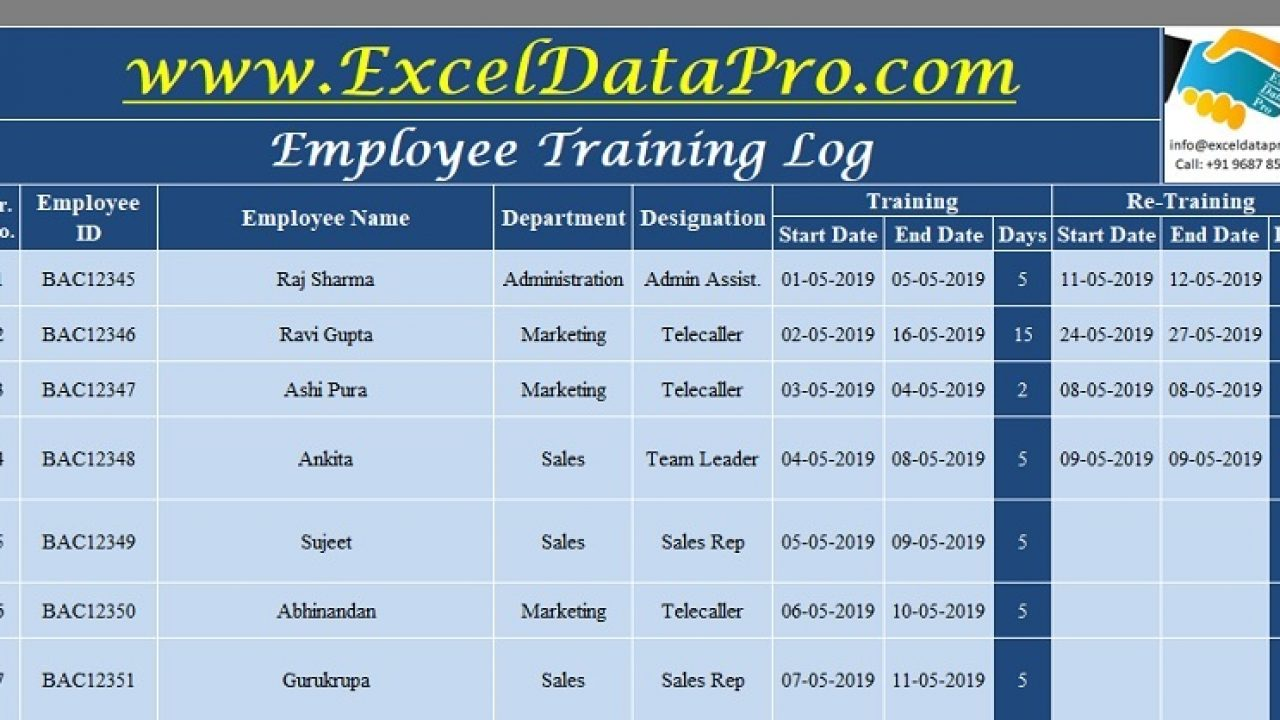 Employees Record Template from exceldatapro.com