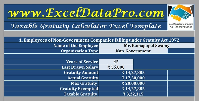 Taxable Gratuity Calculator Excel Template 1