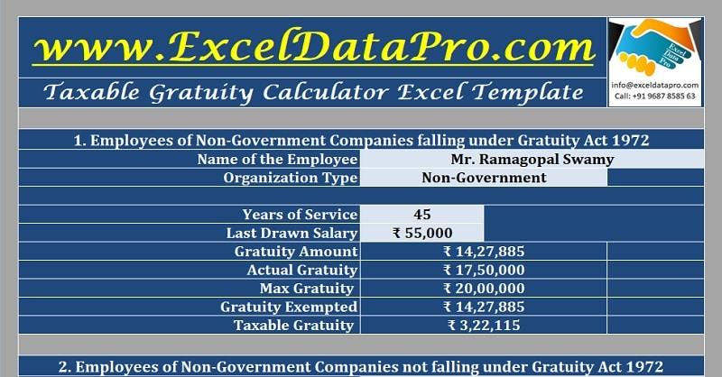 Download Taxable Gratuity Calculator Excel Template