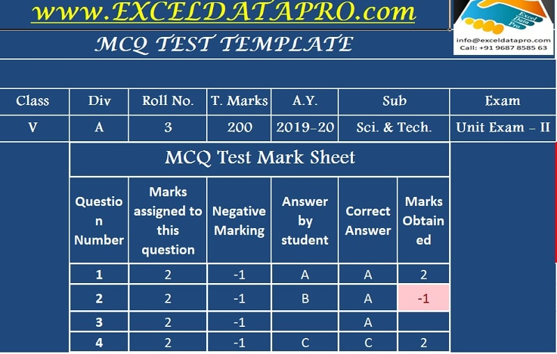 Download Multiple Choice Questions - MCQ Test Sheet Excel